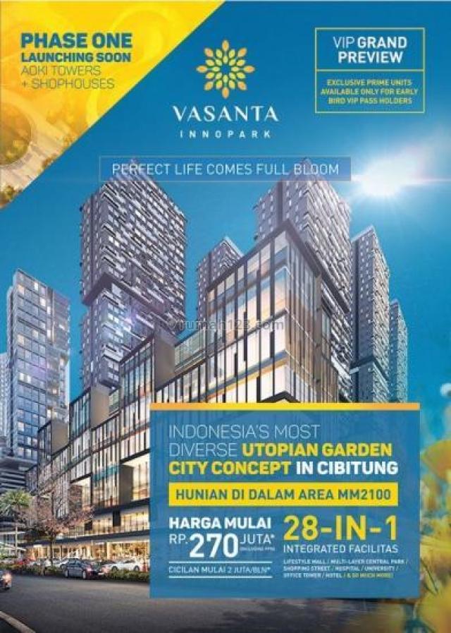 Apartemen Vasanta Innopark Studio 1BR Unfurnished Harga Cantik, Cibitung, Bekasi