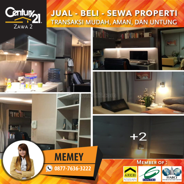 Apartemen Central Park Residence Tower Amandine 1BR 50m2 Full Furished L.tinggi harga 110 Juta  Pertahun, Central Park, Jakarta Barat