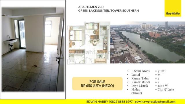 Apartemen 2BR Green Lake Sunter Tower Southern Lt. Atas Kosong, City & Lake View Sunter, Sunter, Jakarta Utara