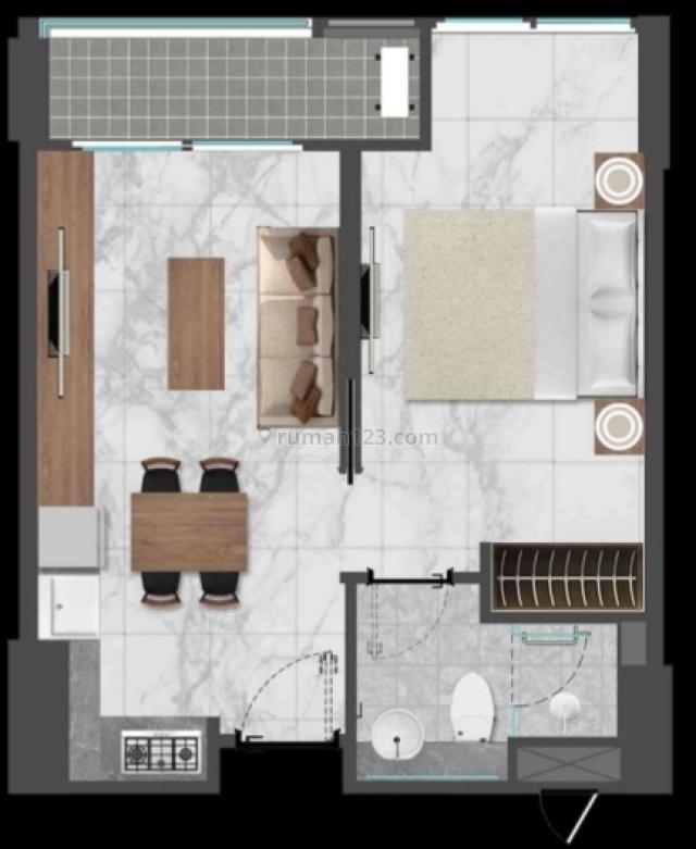 Apartemen Gold Coast PIK 1 BR Harga 1,3M Nego, Kapuk Muara, Jakarta Utara