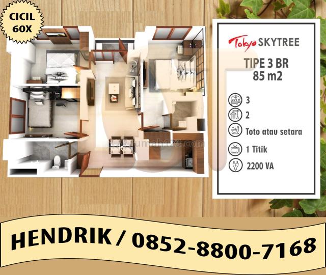 APARTEMEN 3BR 85 M² PIK 2 TOKYO RIVERSIDE SKYTREE BISA CICIL 60X, Pantai Indah Kapuk, Jakarta Utara