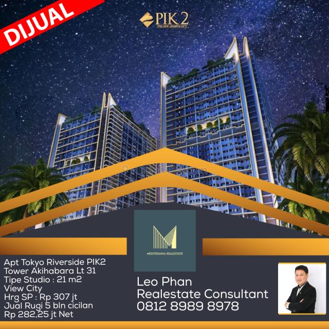 Apartement Tokyo Riverside PIK 2, Tower Akihabara Lt 31, Studio, Non Furnished, Pantai Indah Kapuk, Jakarta Utara