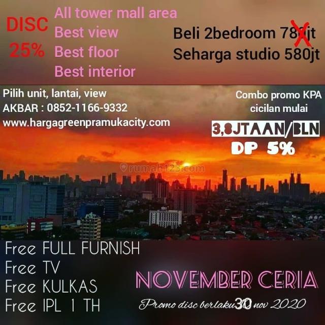 Best Deal! Apartemen Green Pramuka, Diskon up to 200 Jutaan MD781, Cempaka Putih, Jakarta Pusat