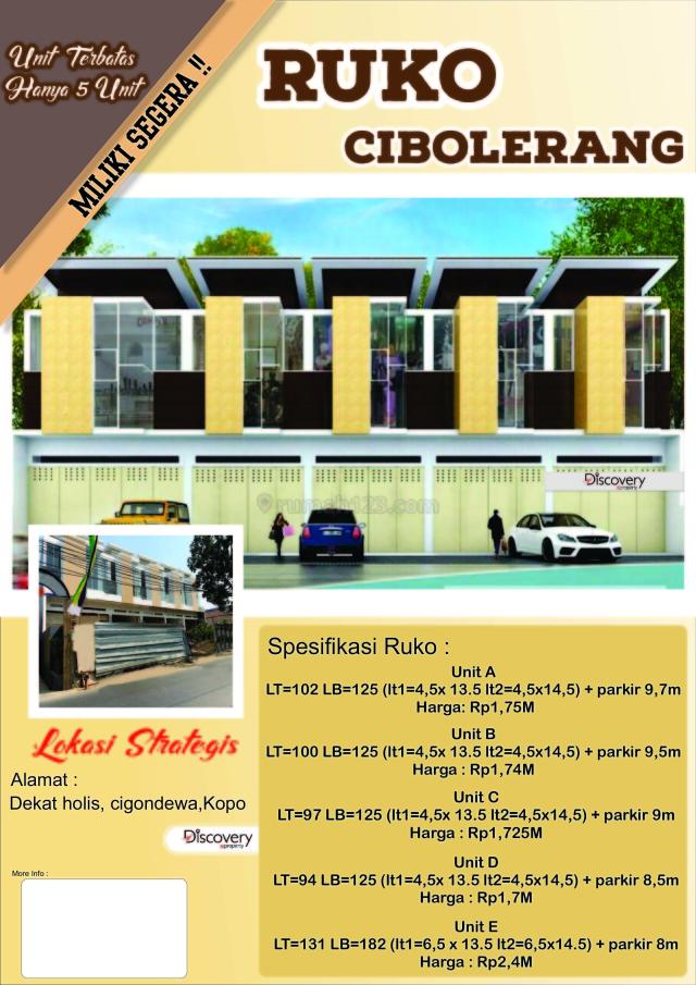 Ruko Baru di Mainroad Cibolerang Bandung, Babakanciparay, Bandung