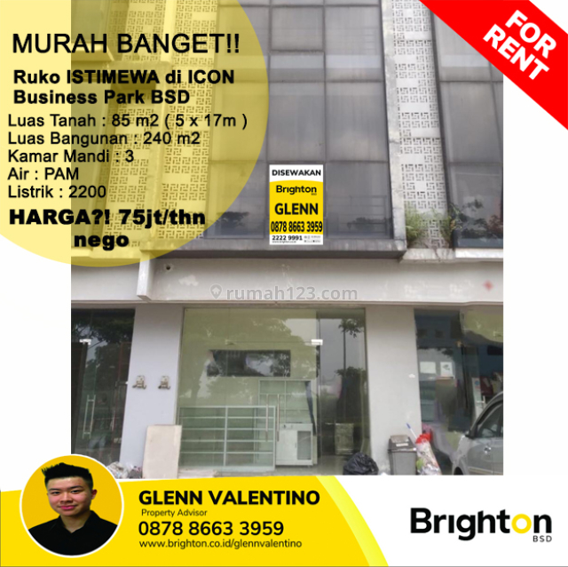Murah Banget!! RUKO ISTIMEWA di ICON Business Park BSD, BSD The Icon, Tangerang
