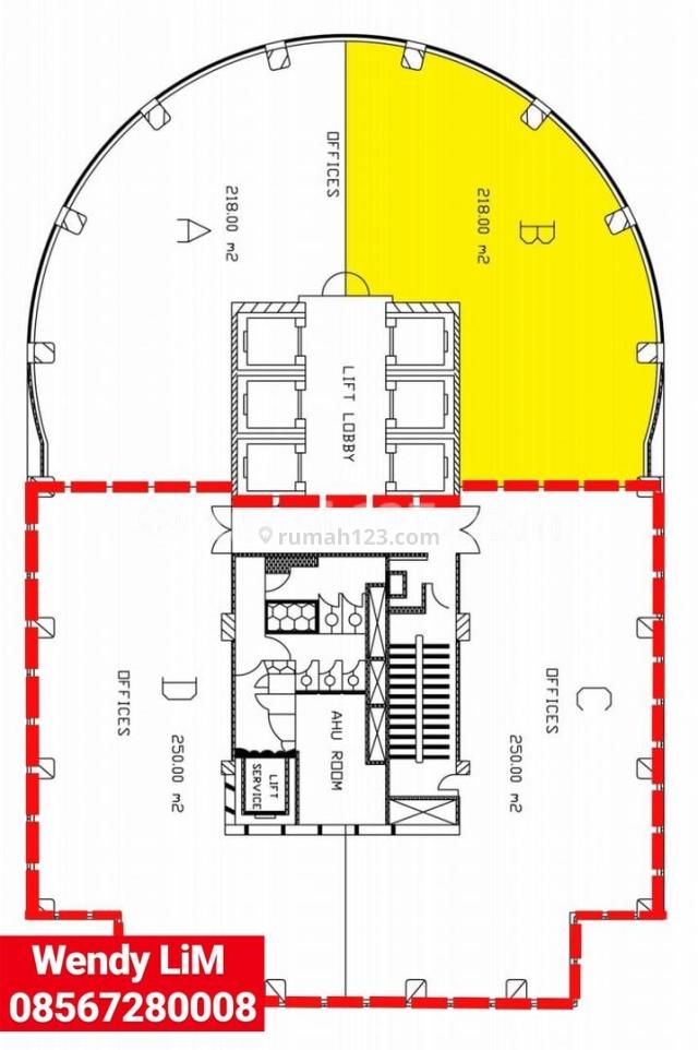 OFFICE SPACE MENARA SUDIRMAN sz. 500 SQM (1/2 FLOOR) ,IDR. 250 RB/M2/BLN, Sudirman, Jakarta Selatan