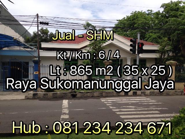 Rumah Strategis 0 Jalan Raya Sukomanunggal Surabaya Barat