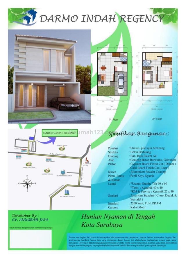 Langka Dan Satu – Satunya!! Baru Gress Darmo Indah Timur Surabaya Barat Minimalis!!