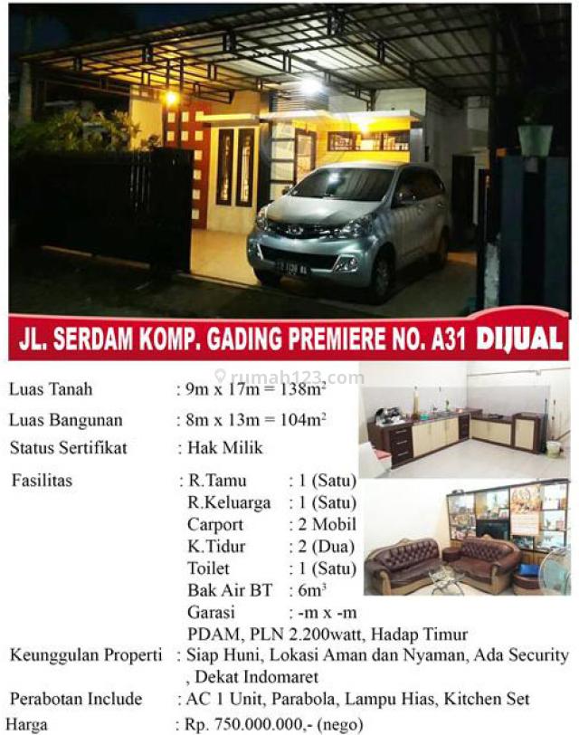 Rumah Jalan Serdam Komplek Gading Premier, Pontianak Tenggara, Pontianak