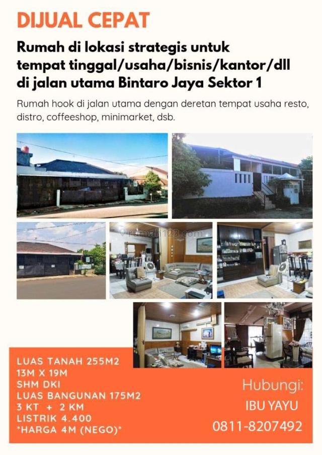 Djl Rumah Untuk Hunian/Usaha di Bintaro Sektor 1, Bintaro, Jakarta Selatan