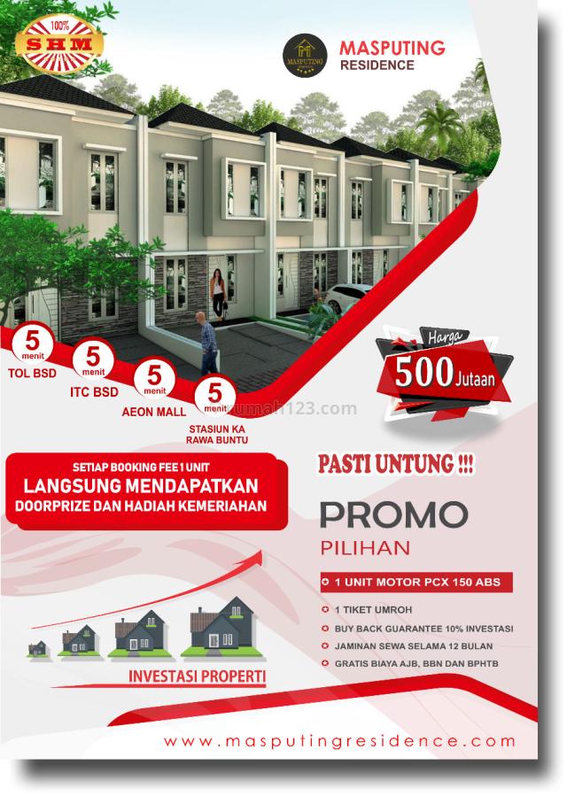 Rumah 2/Lantai Termurah di BSD Serpong Masputing Resdience, Cipondoh, Tangerang