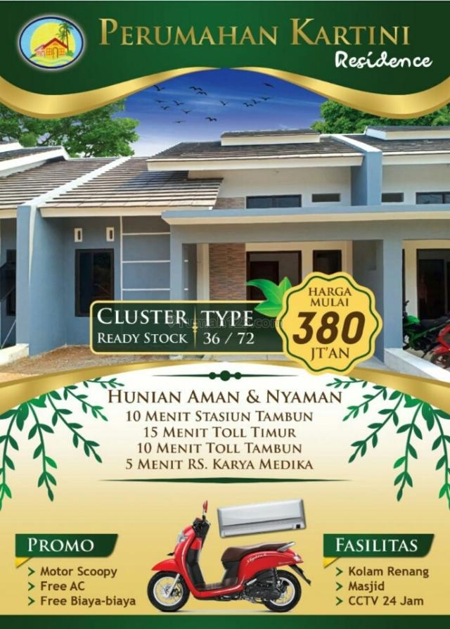 Rumah cluster lokasi premium dekat St Tambun stock terbatas, Tambun Selatan, Bekasi