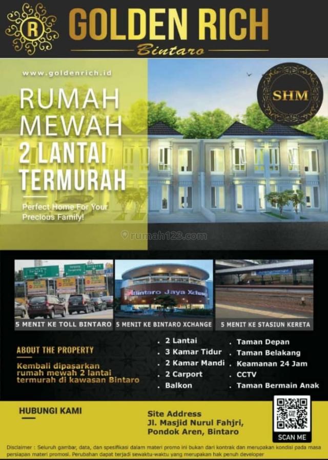 Rumah murah 2 lantai dekat jalan raya, golden rich bintaro, Bintaro, Tangerang