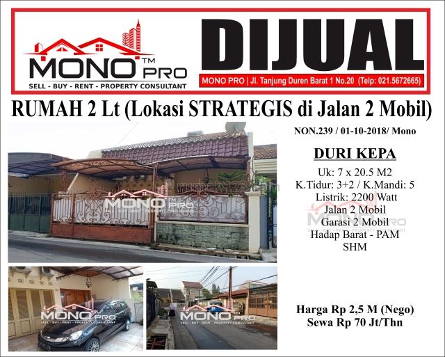 RUMAH 2 Lt (Lokasi strategis)   NON 239, Duri Kepa, Jakarta Barat