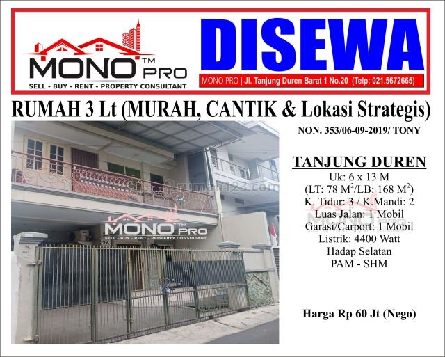 RUMAH CANTIK 3 Lt (Lokasi Nyaman & Strategis) | NON.353, Taman Ratu, Jakarta Barat