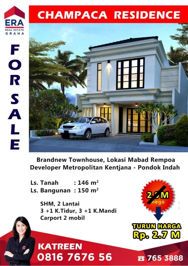 Brandnew Townhouse, Champaca Residence, TURUN HARGA, NEGO TIPIS !!!!, Ciputat Timur, Tangerang Selatan