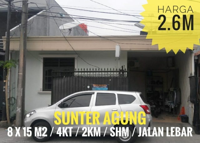 RUMAH STANDARD SUNTER AGUNG UKU 8X15 LOKASI STRATEGIS JALAN LEBAR HARGA BAGUS JARANG ADA NEGO, Sunter, Jakarta Utara