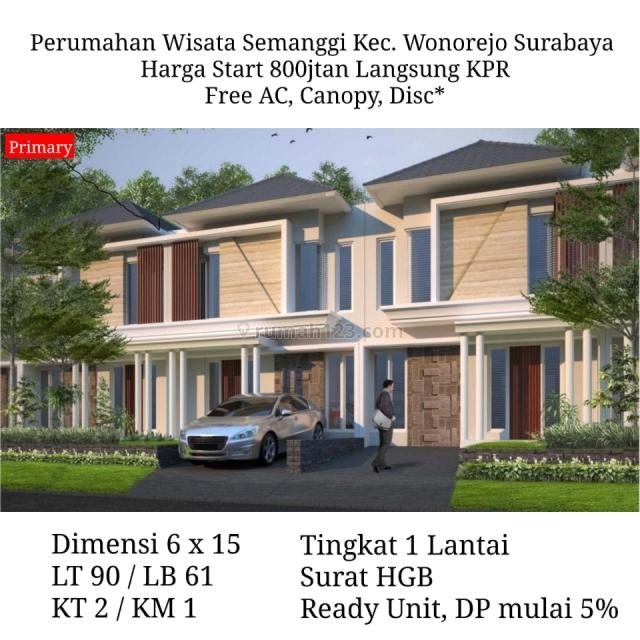 Rumah Minimalis Wisata Semanggi Free Biaya - Wonorejo Semampir Rungkut Siap Huni, Wonorejo, Surabaya