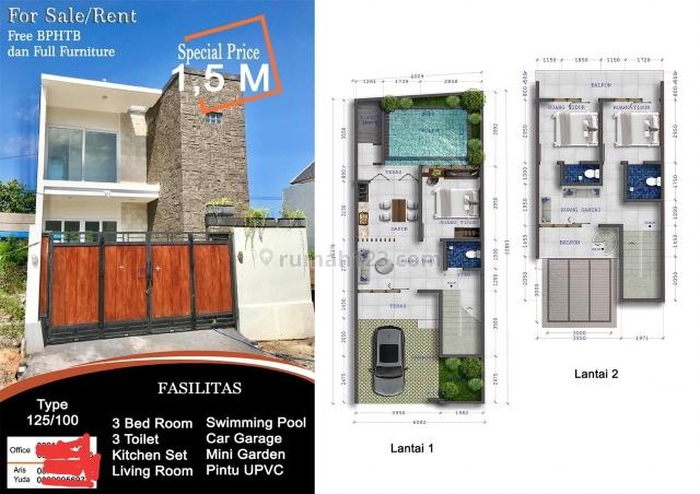 Villa 125/100 m2 baru fully furnished Pantai Pandawa hrg 1,3 mly nego, Ungasan, Badung