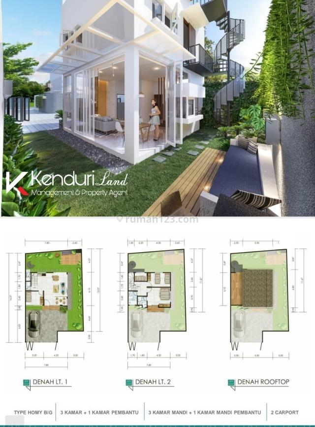 Exclusive private townhouse dengan konsep garden living dan rooftop, Jagakarsa, Jakarta Selatan