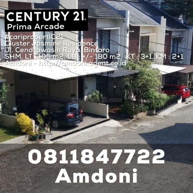 Rumah Rapi 2,5 Lantai Siap Huni dlm Cluster Jasmine Residence Jl. Cendrawasih Raya Bintaro, Bintaro, Jakarta Selatan