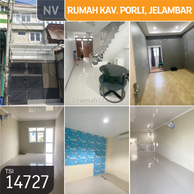 Rumah kav. Porli, Jelambar, Jakarta Barat, 3x15m, 3 Lt, SHM, Jelambar, Jakarta Barat