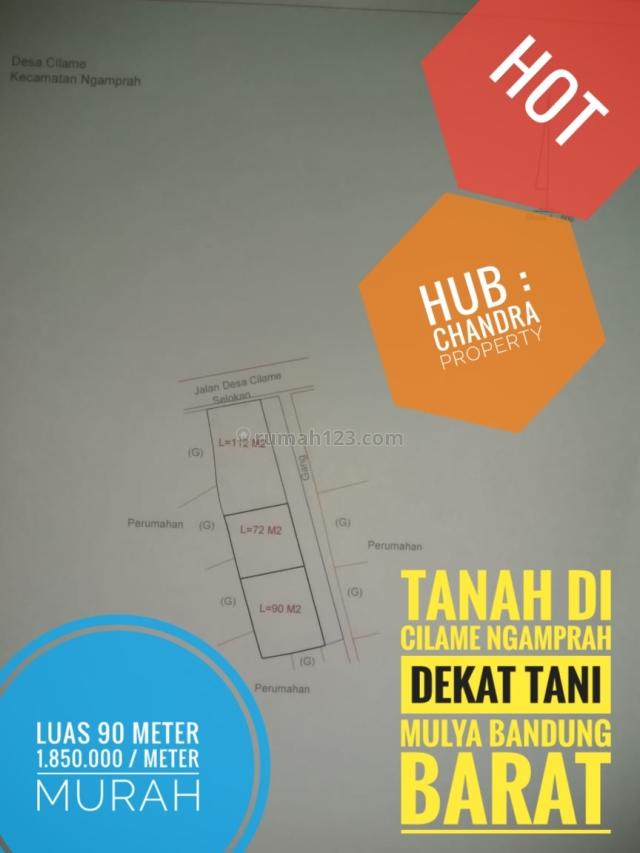 Tanah Murah 1.85jta/meter 90 meter Cocok,dibangun Rumah/Kos Kosan di Cilame Ngamprah Bandung Barat Hub : 087822273389, Ngamprah, Bandung