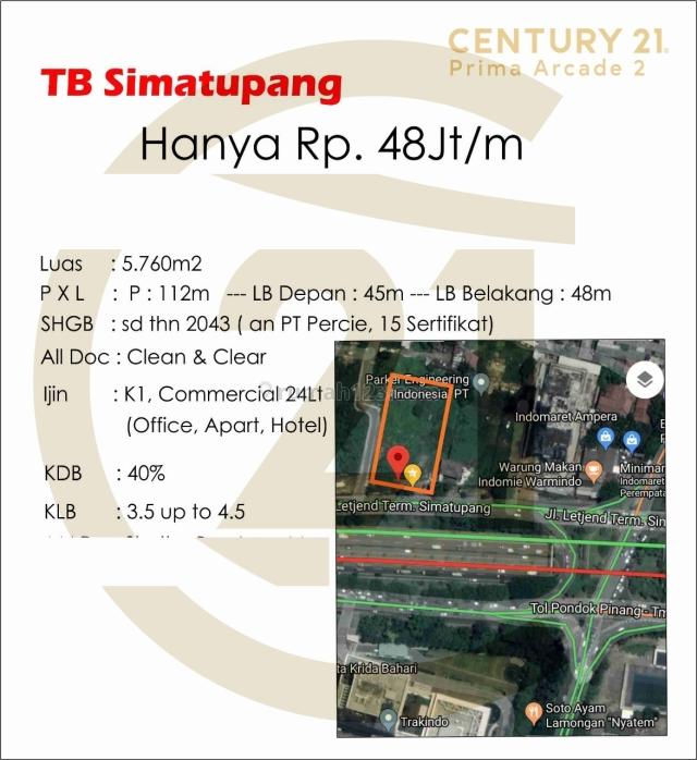 Kavling Strategis di TB Simatupang, Jakarta Selatan (CP638), TB Simatupang, Jakarta Selatan