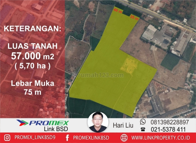 Lahan Industri di Jalan Alternatif Lingkar Luar Klari Karawang Timur, Kota Baru, Karawang