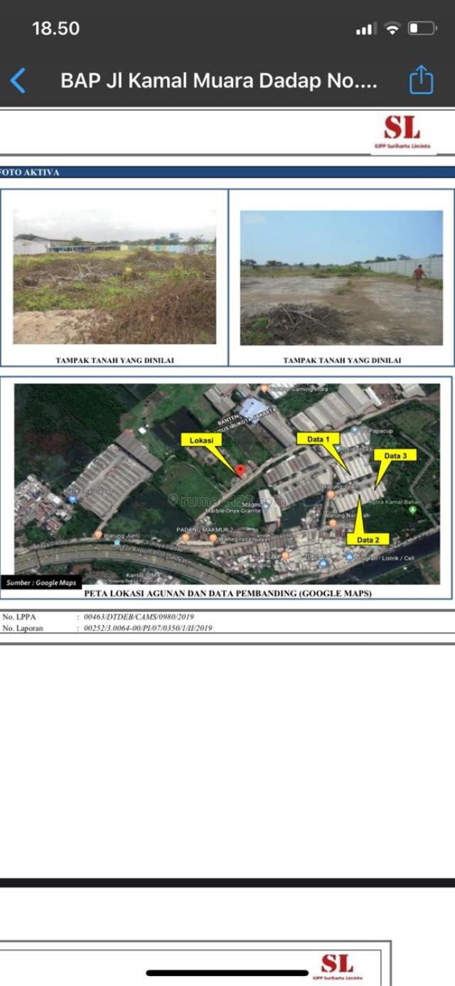 Tanah luas :  6170 m2.  Kamal Muara, Jakarta Utara., Penjaringan, Jakarta Utara