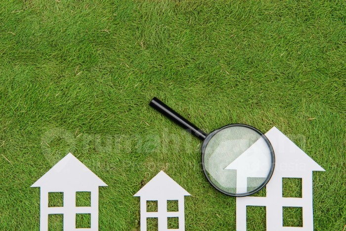 Environmental Conservation Concepts,Green building house Development, Magnifier Scrutiny