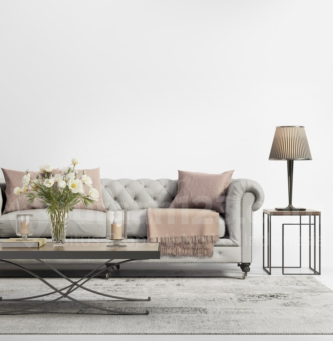 Rendering of a Contemporary elegant chic living room with grey tufted sofa
