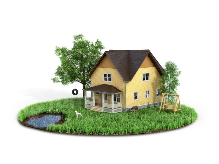 Concept of sweet home. House with on the grass with trees on the island is flying on a white background.