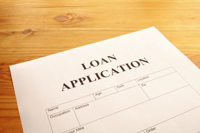 loan application form or document in bank office showing finance concept