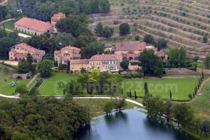 (FILES) This file picture dated May 31, 2008 in Le Val, southeastern France, shows an aereal view of the Chateau Miraval, a vineyard estate owned by US actors Brad Pitt and Angelina Jolie. Angelina Jolie and Brad Pitt, one of Hollywood's most famous and powerful supercouples, were married on August 23, 2014 at the Chateau Miraval in France, People magazine reported Saturday. The celebrity news outlet confirmed the news, first reported by the Associated Press, with multiple sources. The couple's six children attended the low-key ceremony, People reported. AFP PHOTO MICHEL GANGNEMICHEL GANGNE/AFP/Getty Images