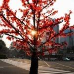 Pohon Imitasi Warna-Warni Percantik Jalan MH Thamrin, Jakarta