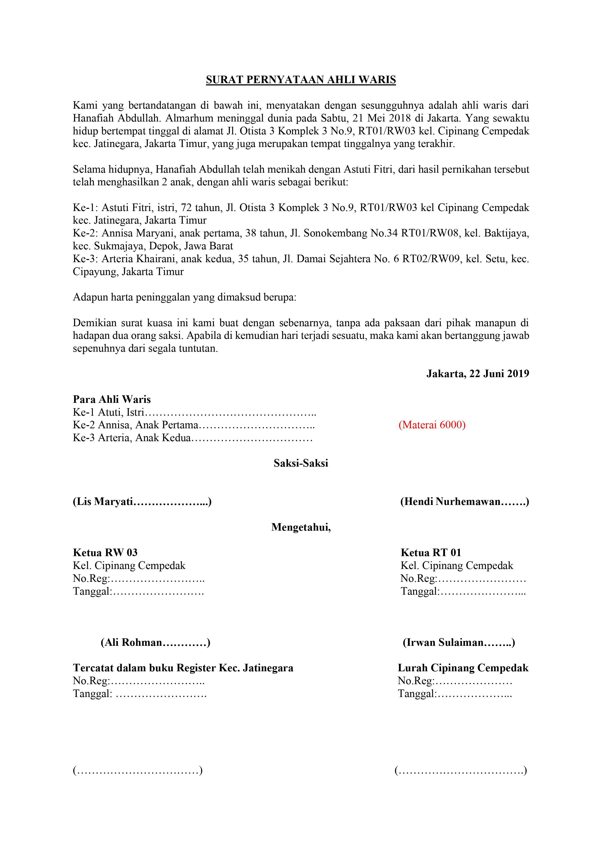 Cara Membuat Surat Keterangan Ahli Waris Beserta Contohnya Rumah123 Com