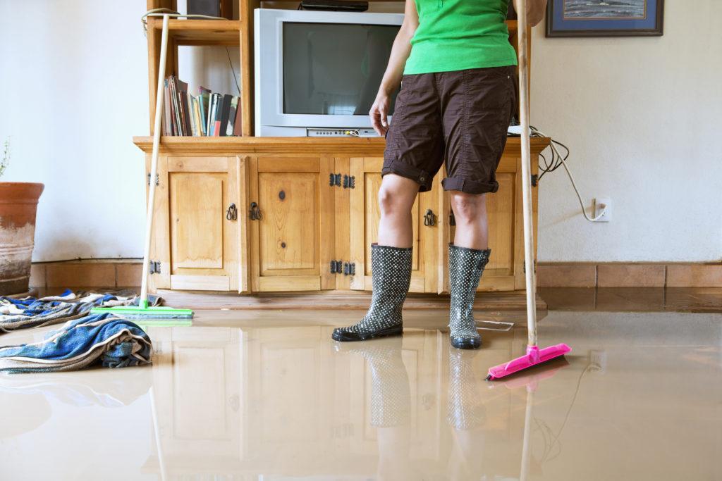 Ilustrasi seseorang sedang membersihkan rumah pasca banjir surut - Rumah123.com