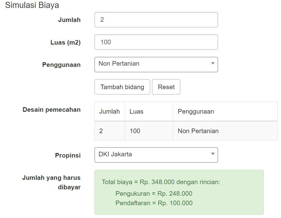 biaya pecah sertifikat tanah