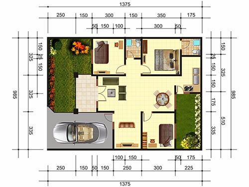 5 Contoh Gambar Denah Rumah Minimalis 3 Kamar Tidur Type 36 Nyaman Fungsional Rumah123 Com