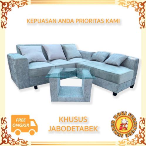 Sofa L Minimalis Full Busa + MEJA MURAH KAIN