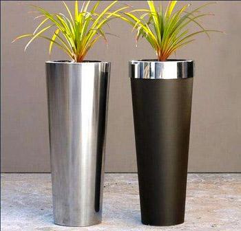 tanaman dalam pot stainless steel