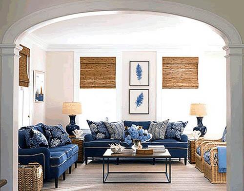 ruang tamu biru navy