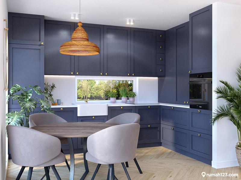 dapur warna navy blue