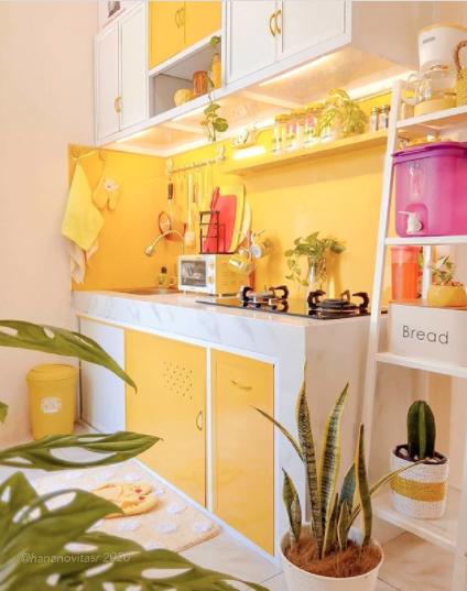 desain dapur minimalis warna kuning