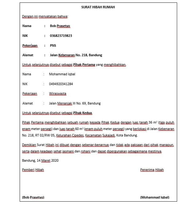 contoh surat hibah