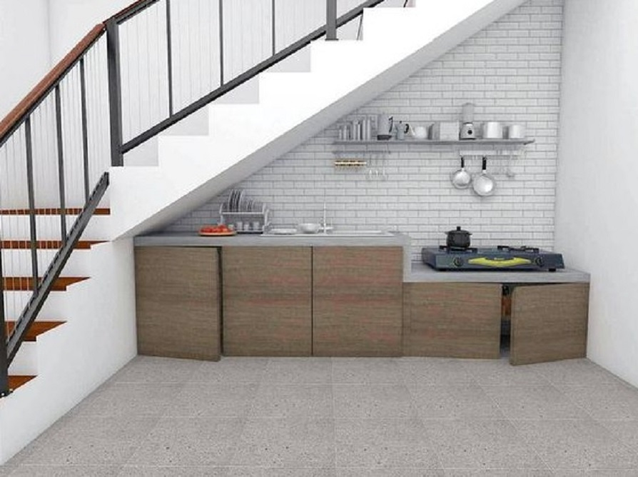 12 Inspirasi Dapur Bawah Tangga Yang Minimalis Untuk Rumah Kecil Rumah123 Com