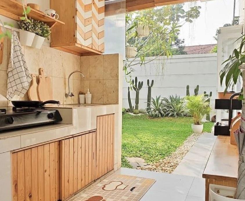 17 Desain Dapur Minimalis Terbuka Memasak Sambil Menikmati Keindahan Taman Rumah123 Com