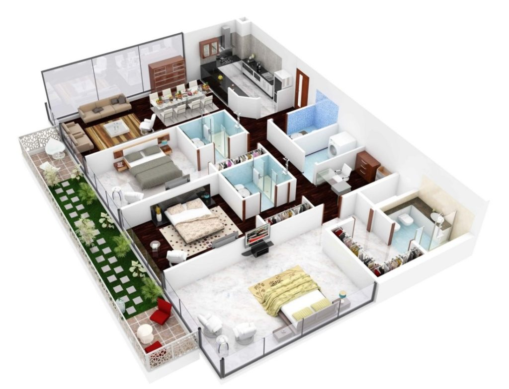 denah rumah 3 kamar tidur