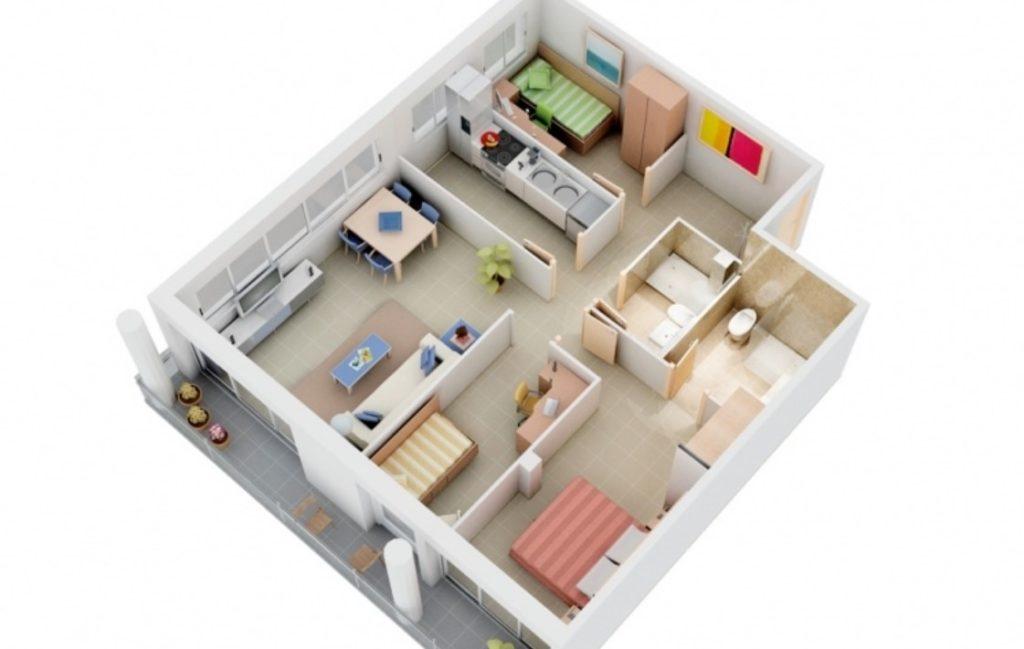 denah rumah minimalis 3 kamar 1 lantai